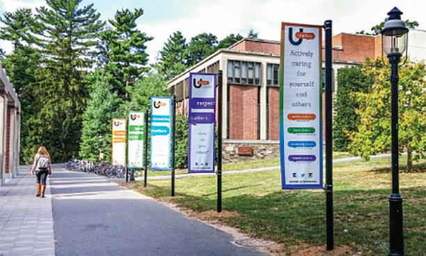 Banners on the Frist North Lawn publicize the launch of the University's UMatter campaign in late September.