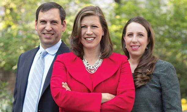 From left: Mark Rienzi '97, Hannah Smith '95, and Adele Keim '01 work for the Becket Fund for Religious Liberty.