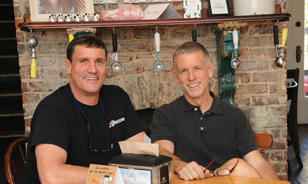 Tim Koons-McGee '80, left, and his husband, Roy, resolved to embark on a career together: running an ice cream shop.