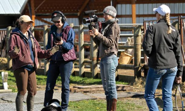 Josephine Decker '03, second from right, films a video for a farm in Washington state.