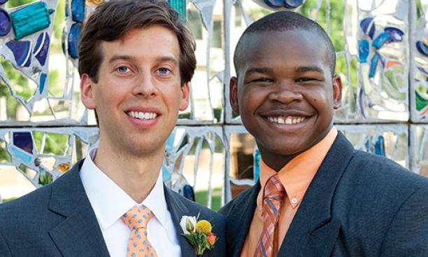 Charles N. Insler '03, left, with Jordon, with whom he was paired in a Big Brothers program.