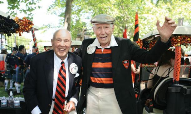 Norm Carter '38, left, and John Hardy '38.