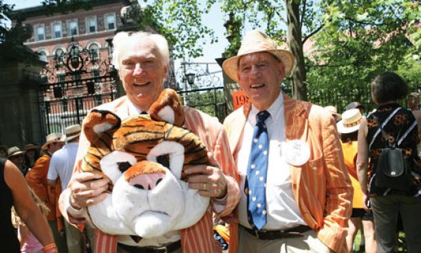 Bradford Mills '48, holding the tiger head, with classmate Jack Lewis enjoy their last reunion before joining the Old Guard.