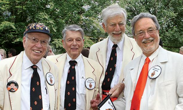 The Class of 1950 celebrates its 65th. From left: Ken Perry, Ralph Moberly, Charlie Slack, and Karlos Moser