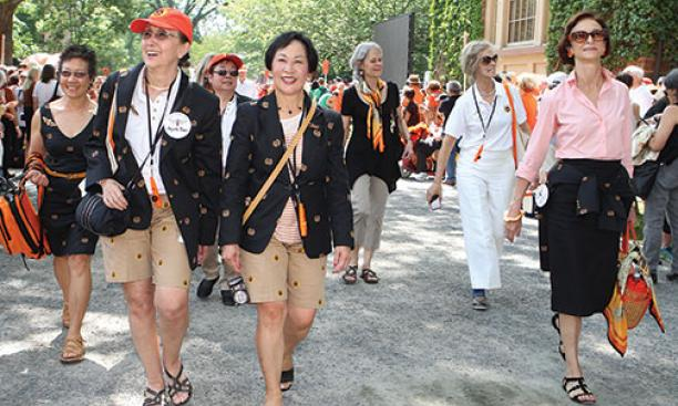 The Class of 1970 was the first to include female graduates, and this year was the first time all surviving '70 alumnae — eight of the nine women — came to Reunions. From left: Mary Yee, Agneta Riber, Lynn Nagasako, Mae Wong Miller, Priscilla Read,