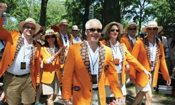 About 24,000 people attended Reunions, and most marched in the P-rade. Here, wearing their new jackets, an enthusiastic contingent of more than 1,500 marchers from the Class of 1988 led the classes in the P-rade.