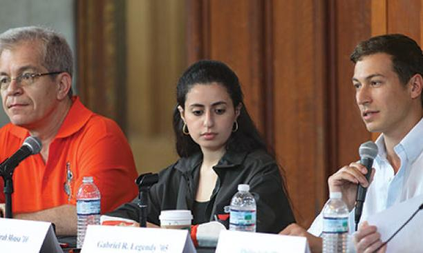 From left: Robert Silverman '80, Sarah Mousa '10, and Gabriel Legendy '05