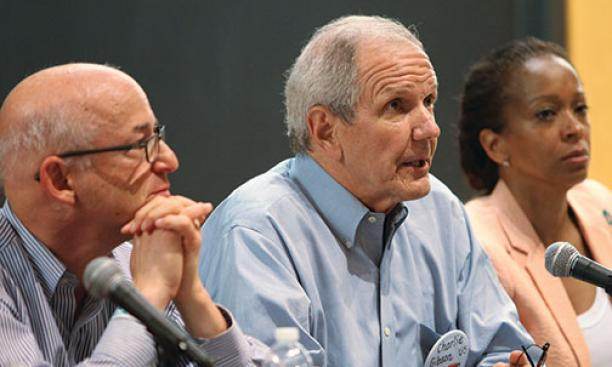 From left: Peter Elkind '80, Charles Gibson '65, and Camille Hackney '90
