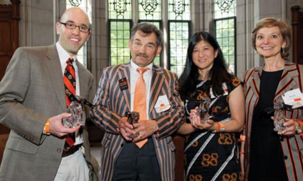 Four graduates won awards from the Alumni Council for their service to Princeton. From left: Jeffrey A. Vinikoor '03, Lee L. Dudka *77, Charlene Huang Olson '88, and Rosalie Wedmid Norair '76.