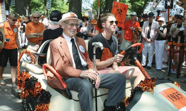 Hugh Sweeny Jr. '35, 98 years old, received the silver-tipped Class of 1923 cane as the oldest returning alum from the earliest class represented. Malcolm Warnock '25, awarded the cane for the eighth time at his 87th reunion last year, died in October