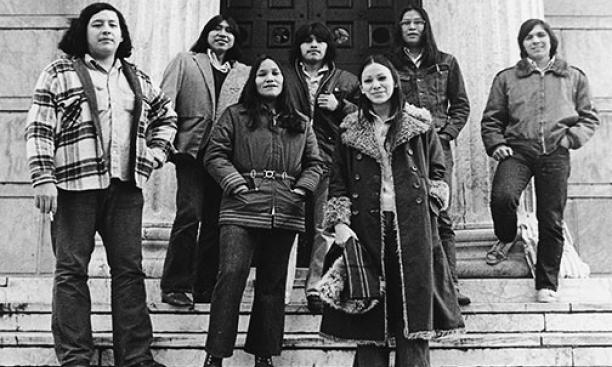 "The 1970s were a ""golden age"" of American Indian life on campus, says retired curator Alfred Bush. From left, in 1973: Louis Ballard '76 (Osage-Quapaw-Delaware), Conroy Chino *73 (Acoma Pueblo), Lorene Reano '75 (Santa Domingo Pueblo), Regis Pecos"