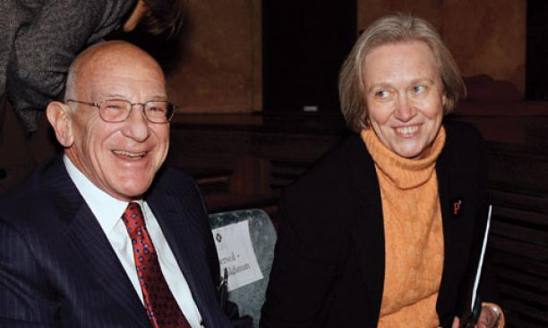 Tilghman in 2006 with Peter B. Lewis '55, whose contributions led to construction of the Frank Gehry-designed Lewis Science Library and the arts and transit neighborhood, now in progress.