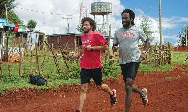 Russell Dinkins '13, right, and Daniel Thomas are training in Iten, Kenya.
