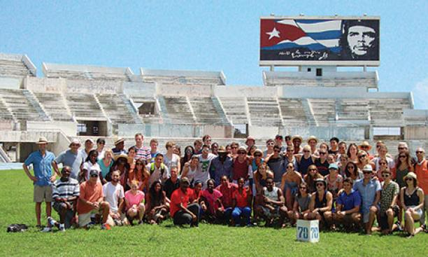The Princeton teams pose for a group photo at Estadio Panamericano in Havana, site of the 1991 Pan American Games.