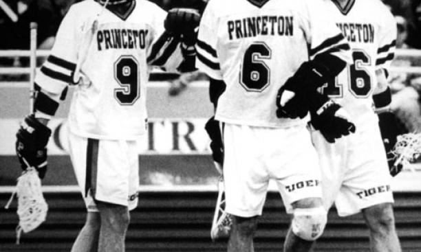 The Class of '98's top lacrosse attackmen — from left, Jon Hess, Chris Massey, and Jesse Hubbard (pictured here during their undergraduate days) — still play together in an over-30 division.