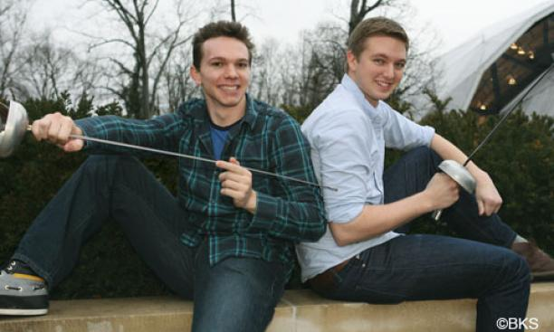 Fencers Jonathan Yergler '13, left, and Edward Kelley '13 are friendly competitors who push each other to improve.