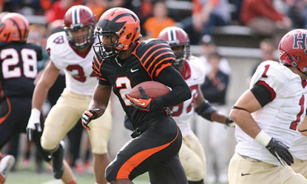 Anthony Gaffney '16's long kick return helped to spark Princeton's memorable comeback against Harvard in 2012.