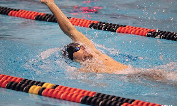 Swimmer Andrew Helber '16 also serves as performance director of the Nassoons.