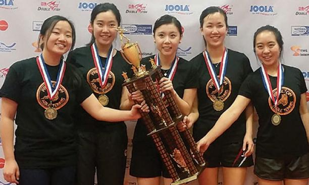 From left: Marisa Chow '17, Shirley Fu '17, Ariel Hsing '17, Erica Wu '18, and Robin Li '17