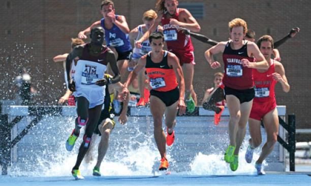 Donn Cabral '12, center, won the 3,000-meter steeplechase at the NCAA Championships to become the first Princeton runner to win an NCAA title since 1934.