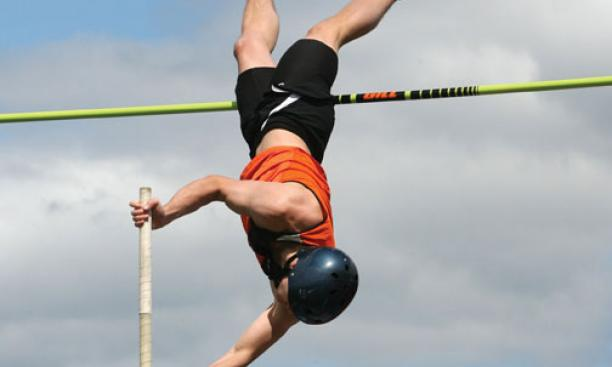 Pole vaulter Dave Slovenski '12 likes to invent new athletic challenges for himself and the Tigers' other vaulters.