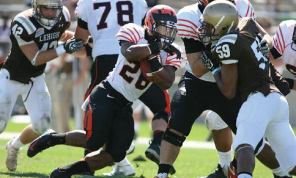 Akil Sharp '13 ran for two touchdowns at Lehigh.