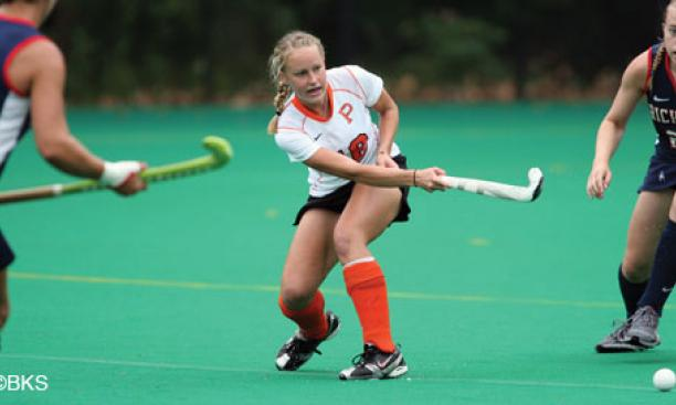 Rachel Neufeld '12, center, and the Tigers are learning to play without four All-America honorees who have taken leave from the University to pursue their Olympic dreams.