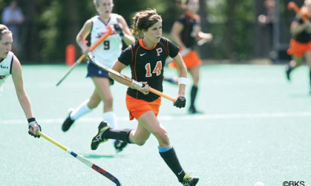 Princeton's field hockey team is fortified by the return of Olympians Katie Reinprecht '13, center, and Julia Reinprecht '14, along with Kathleen Sharkey '13 and Michelle Cesan '14, all of whom spent last year playing with the U.S. national team