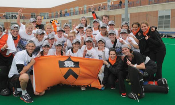 Princeton's field hockey team celebrated its NCAA win against No. 1 North Carolina Nov. 18.