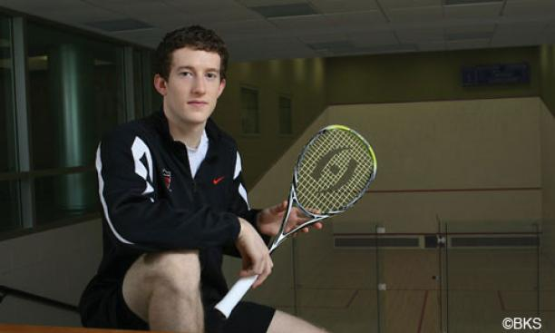 Last year, Todd Harrity '13 became the first American player in 21 years to win the national college squash championship. Below, Harrity played his Yale opponent Feb. 4 at Jadwin.