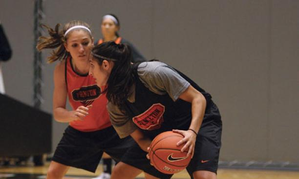Standouts on the women's basketball team include point guard Lauren Polansky '13, left, and forward Niveen Rasheed '13, at a practice.