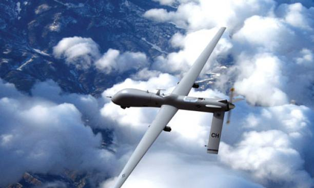 Unmanned MQ-1 Predator drone with Hellfire missiles