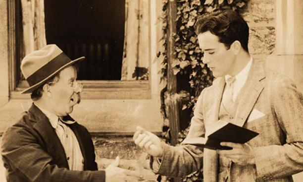 "Chester Conklin, left, and Charles ""Buddy"" Rogers in the 1928 movie Varsity, filmed at Princeton."