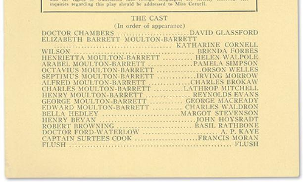 Playbill listing Orson Welles in his first American role.