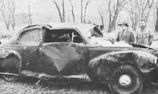 The Lincoln Zephyr coupe belonging to W. Leonard Alexander '22, shortly after it was hauled to the bank of Lake Carnegie.