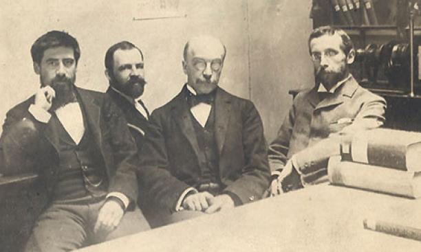 John Bach McMaster, third from left, with other history professors at Penn, about nine years after he left Princeton.