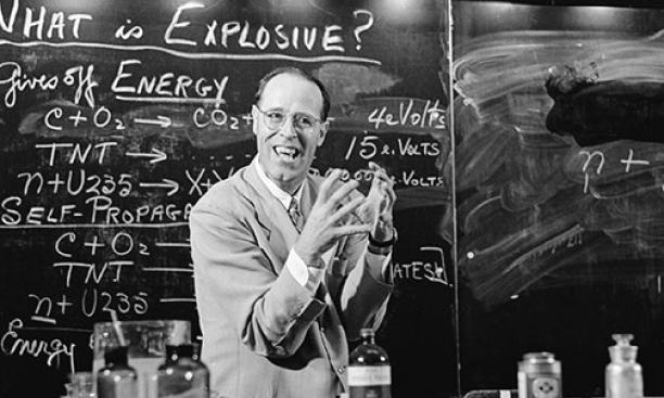 "Chemistry professor Hubert Alyea '24 *28 — aka ""Dr. Boom"" — in action in 1960."