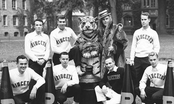 """Cheerleaders — along with the Princeton Tiger and """"Princeton Charlie"""" — in 1950."""