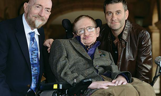 Kip Thorne *65, left, with physicist Stephen Hawking and Stephen Finnigan, director of the film Hawking, in Cambridge, England, in 2013.