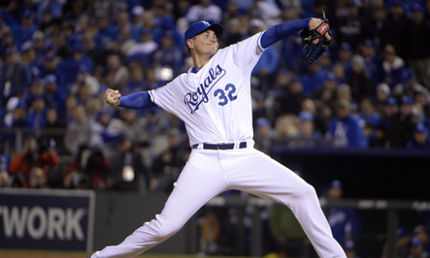 Chris Young '02 pitching in the World Series Oct. 27. (John Reiger/USA Today Sports Images)