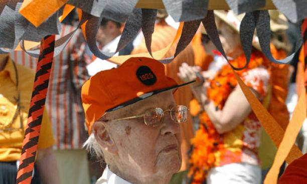 Malcolm Warnock '25, winner of the Class of 1923 Cane for the fifth time as the oldest returning alumnus. A few days later, he turned 104.