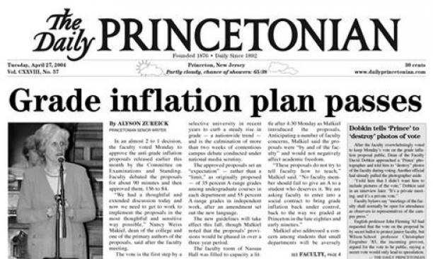 2004: Too many A's at Princeton? The faculty believes so and decides to act, approving a new set of guidelines that aim to curb grade inflation. The goals include limiting A grades to 35 percent of all grades in regular courses and 55 percent in junior