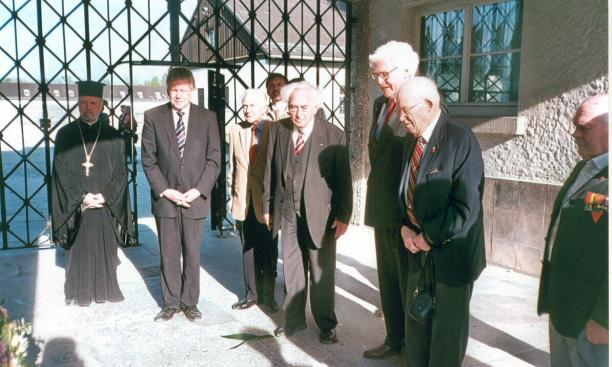 Alan W. Lukens '46, second from right, joins with other dignitaries at a wreath-laying ceremony at the Dachau concentration camp in April 2010.