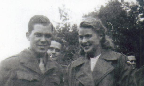 In a wartime photo, Alan W. Lukens '46 with film actress Ingrid Bergman. Pfc. Lukens won a dinner with Bergman in a lottery.