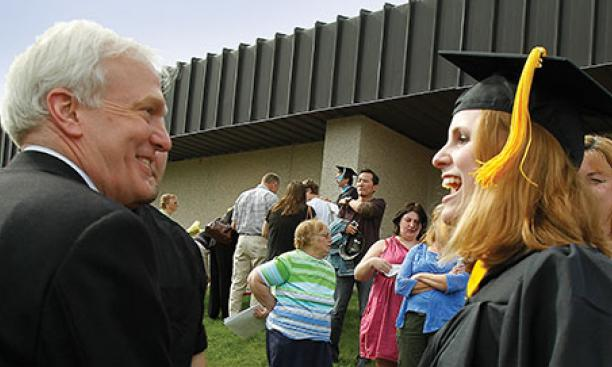 Willoughby attends Giese's college graduation in 2011, more than six years after they first met.