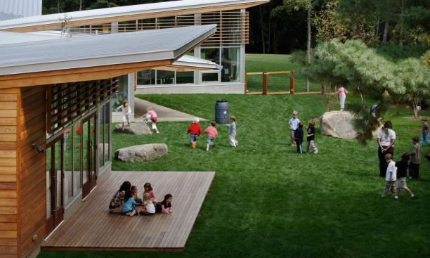 MARYANN THOMPSON ARCHITECTS: Classrooms and playground are in conversation at The Children's School, a passive solar, LEED-certified school in Connecticut. (Photo: Courtesy Maryann Thompson Architects)