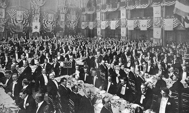 An alumni dinner at the Waldorf in New York City, 1912.