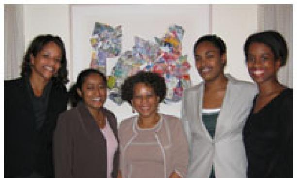 Among the participants in PALS, a New York-based group that mentors minority law students, are, from left, mentor Shea Owens '94; PALS chairwoman Amanda Samuel '92; PALS founder and mentor Patricia Irvin '76; mentee Elan Nieves '06; and mentor Heather But