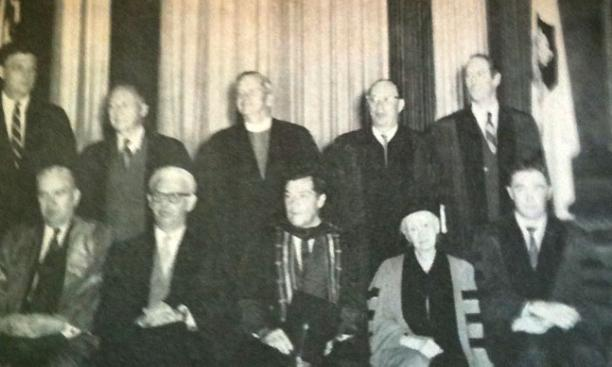John Bardeen *36, back row, second from right, received an honorary degree in 1968. Other alumni honoraries that year included John Doar '44 and Thomas Hoving '53 *60.