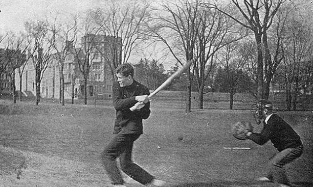 A recreational game of baseball.